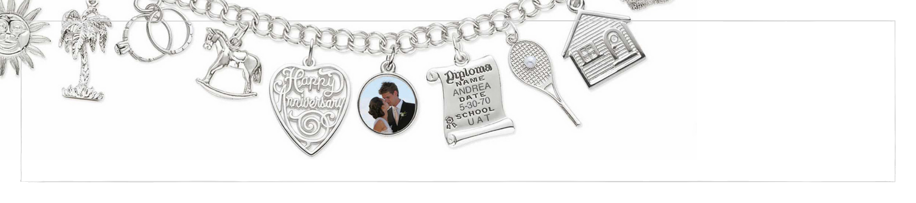 sterling silver gold charm bracelet